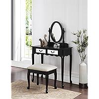 3-Piece Wood Make-Up Mirror Vanity Dresser Table and Stool Set, Black