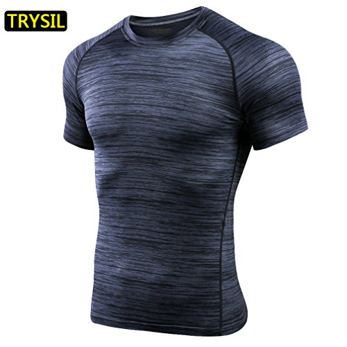 Workout Short Sleeve, LC-dolida Men's Breathable Round Collar Sports Short Sleeve Quick Dry T-Shirt for Fitness Hiking Marathon Basketball Exercise(Grey)  Price: $20.99