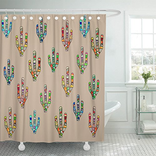TOMPOP Shower Curtain Abstract Colorful Mosaic Cactus Digital on Pale Brown Mexican Waterproof Polyester Fabric 72 x 72 Inches Set with Hooks by TOMPOP