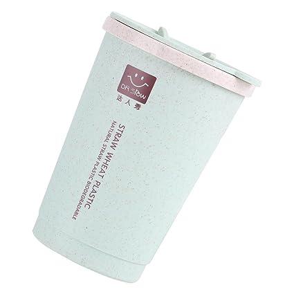 Taza con Aislamiento Doble Pared de Fibra de Trigo Calentador Vaso Taza al Vacío 7oz Taza