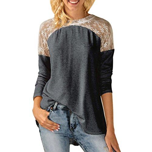 Hot Sale! Women Sexy Blouse Long Sleeve Split Back Lace Splice Bowknot Tops T-Shirt (XL, Gray)