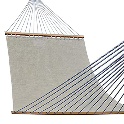 Lazy Daze Hammocks 55inch Quick-Dry Hammock with Textliene Fabric and Hardwood Spreader Bar for Poolside Outdoor, Tan - Made from 100% textliene, quick dry material, hammock stand NOT included. Bed dimensions: 79 x 54 inches (overall length: 152 inches); Support up to 450 pounds Handcrafted polyester ropes add character and authenticity, and thickness of the end cords contribute greatly to the balance and strength of the hammock - patio-furniture, patio, hammocks - 51Y0PiPX2FL. SS400  -