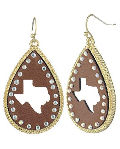 (Women's Faux Leather Texas Silhouette Teardrop Dangle Pierced Earrings, Brown/Gold-Tone)
