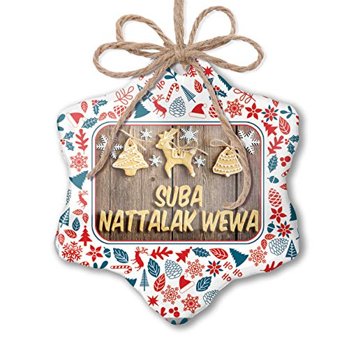 NEONBLOND Christmas Ornament Merry Christmas in Sinhalese from Sri Lanka Red White Blue Xmas