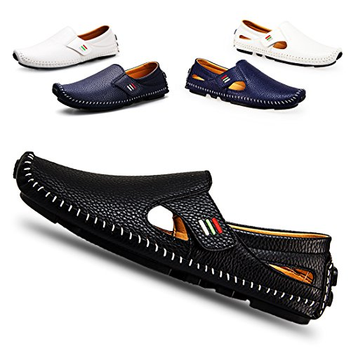 (Men's Penny Loafers Driving Shoes Casual Leather Stitched Loafer Shoes(Black 40))