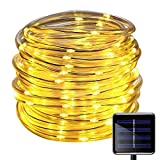 100 LEDs Solar Rope String Lights,WONFAST Waterproof 39ft/12M Copper Wire Outdoor Tube Fairy String Lights for Christmas Garden Yard Path Fence Tree Backyard (Warm White)