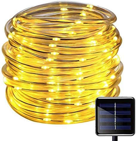 SUNSEATON Solar Rope Lights,100 LEDs 33ft 10M Waterproof Solar String Copper Wire Light,Outdoor Rope Lights for Garden Yard Path Fence Tree Wedding Party Decorative Warm White