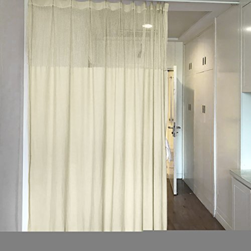 10ft Wide x 7ft Tall Pinch Pleated for Hospital Medical Clinic Spa Lab Cubicle Curtain Divider Privacy Screen, Beige Ivory, (Track Hardware Not (Height Privacy Cubicle Curtain)