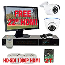 GW Security High Definition 4 Channel Surveillance DVR Security Camera System with 2 x HD-SDI 1/3 2.1 Megapixel Panasonic CMOS Camera,HDMI Monitor and 2TB HD