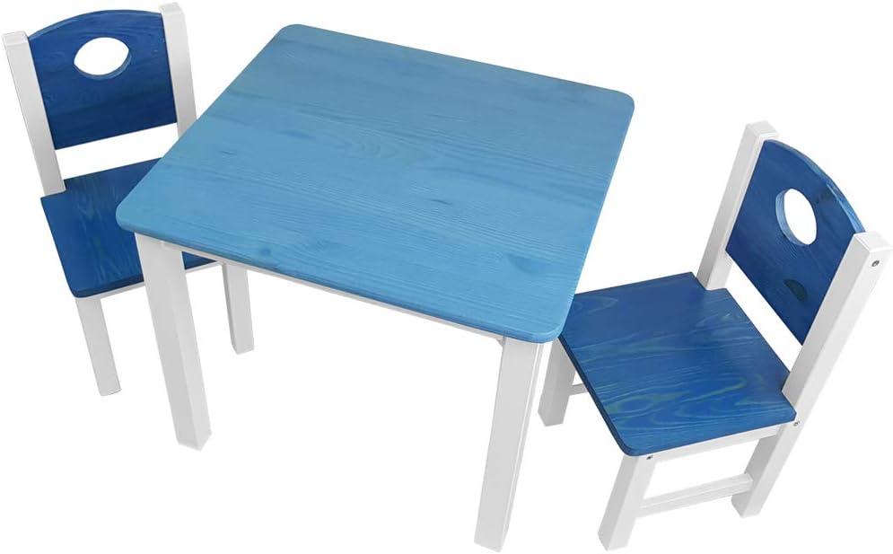 Kinderzimmer Set: 1 Tisch und 2 St/ühle top M/öbel-Qualit/ät aus Kiefer Massivholz Kindertisch und Kinderst/ühle f/ür Jungen und M/ädchen Kinder-Sitzgruppe Farbe:Blau
