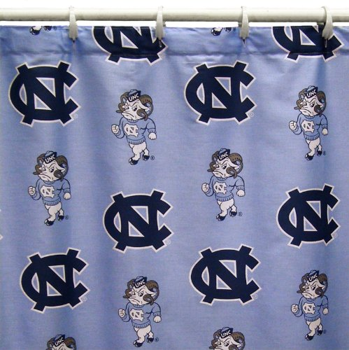 (North Carolina Tar Heels Shower Curtain Cover Plus a Matching Window Curtain Valance - Save Big By)