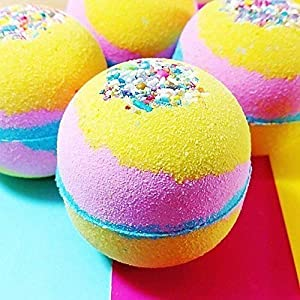 Unicorn bath bomb Colorful Rainbow Bubble Spa Fizzies 6 oz round