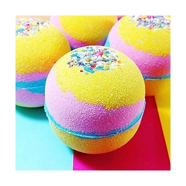 Unicorn bath bomb Colorful Rainbow Bubble Spa Fizzies 6 oz round 3