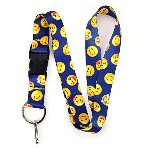 (Buttonsmith Blue Emoji Premium Lanyard - with Buckle and Flat Ring - Made in The USA )