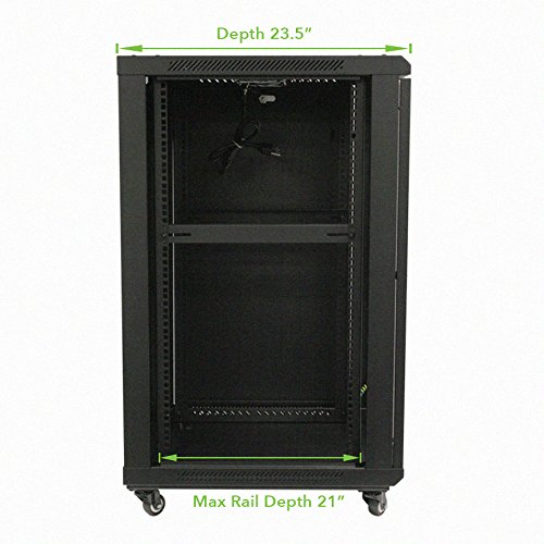 NavePoint 18U Wall Mount Audio Video A/V Rack Cabinet Glass Door Lock Casters and Shelves