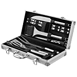 Zeppir Kitchen Premium BBQ Tools Grill Set (20-Piece Kit) Barbecue Grilling Accessories | Indoor & Outdoor Cooking | Heavy-Duty Stainless-Steel Utensils | Spatula, Kabob Skewers, Baster, Tongs, Knife