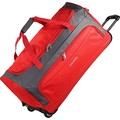 Travelite Garda XL Reisetasche groß mit Rollen Damen und Herren mit Trolley-Funktion 72 cm rot grau