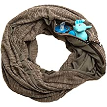 SHOLDIT Nursing Scarf with Pocket, Folds into Clutch purse, Breast feeding Cover Up & Scarves - HAZE GREY