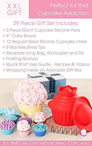 29pcs Giant Cupcake Pan Silicone Molds - Extra Huge Oversized Bakeware Cup Mold. Large Smash Cake Big Jumbo Muffin Baking Decorating Supplies Kit Accessories Frosting Icing Piping Bags Tips Cups by Cakes of Eden (Image #5)