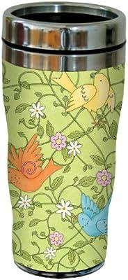 Tree-Free Greetings 77247 Birds and Vines by Debbie Mumm Sip N Go Travel Tumbler 16-Ounce Stainless Steel
