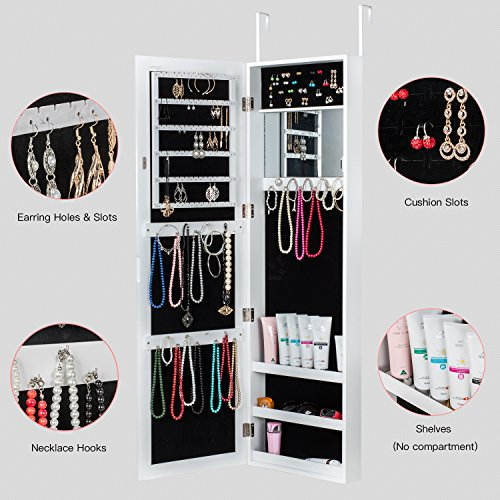 HERRON Jewelry Armoire with Mirror Door or Wall Mounted Jewelry Cabinet Organizer for Women,White by HERRON (Image #4)