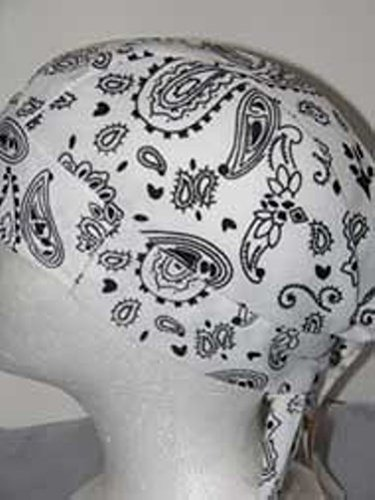 (Skull Cap White Paisley with Sweatband AKA Bikers Cap, Head Wrap, Headwrap, Durag, Doo Rag, Wrap Bandana, Bandanna 80% Polyester, 20% Spandex Stretchy Material, Easy to Use Under Baseball Caps, Motorcycle or Football Helmets, Running, Jogging, Exercising, Gardening, Cleaning to Keep Hair Out of the Face and Absorb Sweat or for Natural Balding or Use During Chemotherapy Cancer Treatments)