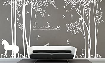 Nature Vinyl Forest Tree Wall Decal With Fairy Decal Girl Fairy Forest Wall  Stickers For Living Room Decor     Amazon.com