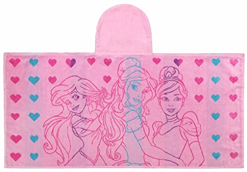 Disney Princess Hearts Super Soft & Absorbent Kids Bath/Pool/Beach Hooded Towel, Featuring Belle, Ariel & Rapunzel - Fade Resistant Cotton Terry Towel, Measures 23