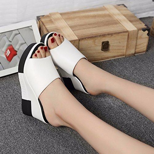QPSSP Zapatillas, Zapatillas, Muffins De Fondo Grueso, Tacon Alto De Zapatillas Y Zapatos De Mujer. white