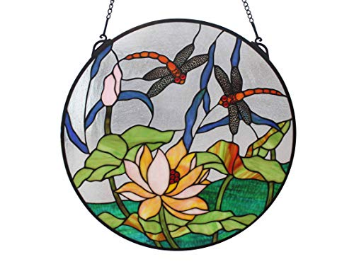 Yolic Big Size 20 Inch Tiffany Stained Glass Water-Lily & Dragonfly Round Colored Glass Window Panel ()