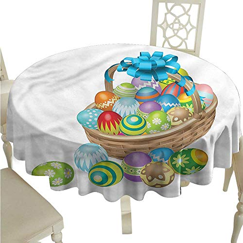 - ScottDecor Christmas Tablecloth Easter,Basket of Colorful Eggs Outdoor Picnics Round Tablecloth D 50