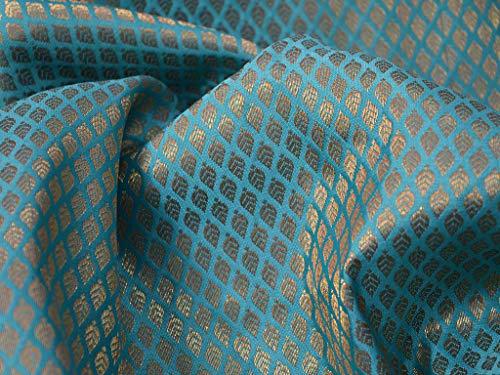 (Leafs Motifs Design Fabric in Turquoise Blue Wedding Dress Banarasi Brocade Curtain Fabric )