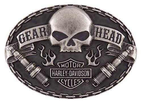 Harley-Davidson Men's Gear Head Belt Buckle, Antique Nickle Finish HDMBU11501 (Harley Belt Buckles)