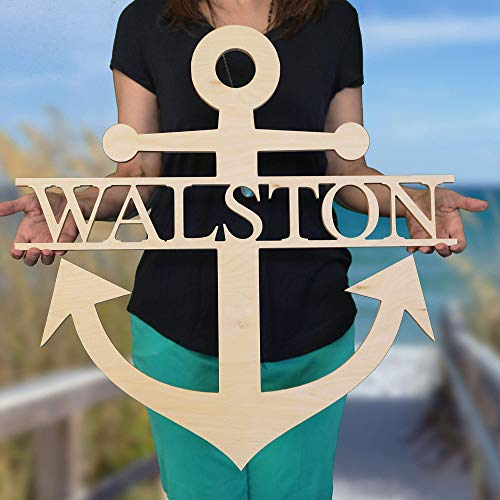 (SALE 16-36 inch Wooden NAME ANCHOR SIGN Wooden Name Anchor - Ready to Paint - Nautical Decor - Anchor Door Hanger - US Navy Decor - Beach House Decor - Lake House)