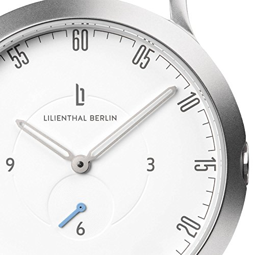 Lilienthal Berlin Watch - Made in Germany - Designed in Berlin. Model L1 with Stainless Steel Case (Size: 37.5 mm, Case: silver / Dial: white / Strap: brown) by Lilienthal Berlin (Image #3)