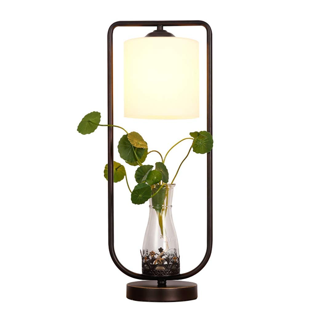 Hydroponic Table Lamp Suitable for Dining Room Bedroom Bar Cafe with Rustic Metal Glass Table Lamp Desktop Light