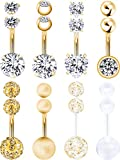Hestya 8 Pieces Belly Button Rings 14 G Stainless Steel Women Navel Rings Barbell Body Piercing Jewelry with 8 Pieces Replacement Balls (Gold Color)