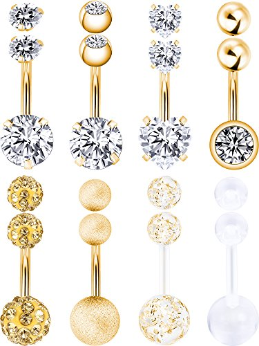 Ball Navel Jewelry - Hestya 8 Pieces Belly Button Rings 14 G Stainless Steel Women Navel Rings Barbell Body Piercing Jewelry with 8 Pieces Replacement Balls (Gold Color)