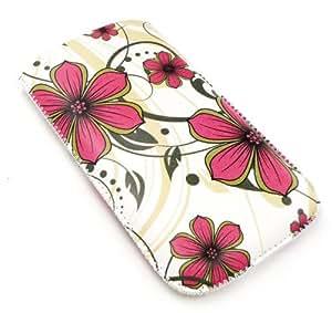 Emartbuy ® Rosa Flores Hawaianas Pu Bolsa De Cuero De Primera Calidad / Case / Manga / Soporte (Tamaño Pequeño) Con Mecanismo De Lengüeta Apto Para Vodafone 550