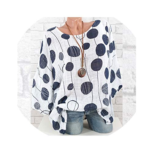 Womens Tops Blouses Spring Autumn O-Neck Polka Dot Long Sleeve Blouse Tunic Shirt Jumper Top Plus Size,Navy,L