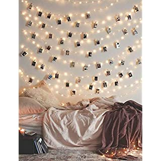 Photo Clip String Lights 17Ft, 50 LED Fairy String Lights with 50 Clear Clips for Hanging Pictures, Photo String Lights with Clips - Best Dorm Bedroom Wall Decor Wedding Decorations