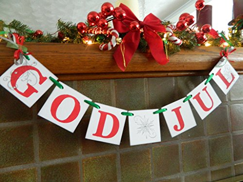 God Jul Banner- Norwegian Holiday Decoration-Happy Christmas Nordic Decor- Swedish Christmas Banner-Scandanavain Christmas - Traditional Christmas Norwegian