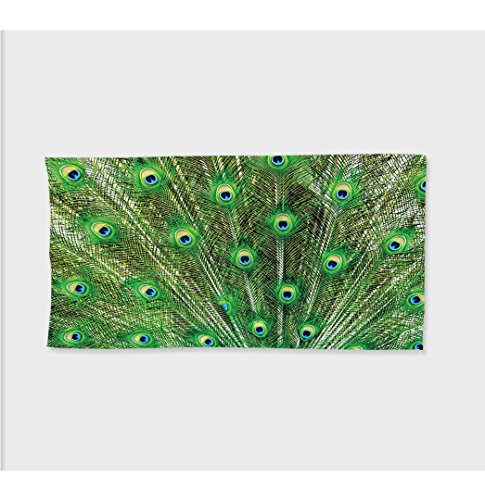 Oversized Deluxe Fox Tail (Sophie 27.5W x 11.8L Inches Custom Cotton Microfiber Ultra Soft Hand Towel Peacock Decor Collection Peacock Tail Feathers Ornamental Birds Nature Colorful Animalilderness Image Extra Long Green Navy A)