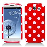 Aimo SAMI9300PCPD303 Cute Polka Dot Hard Snap-On Protective Case for Samsung Galaxy S3 i9300 - Retail Packaging - Red/White