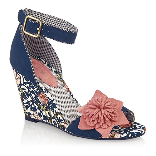 Ruby Shoo Women's Sky Fabric Wedge Sandals & Free Belle Divino Sole Protector Navy/Coral 1xYCXGM0Wc