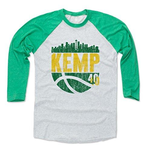 - 500 LEVEL Shawn Kemp Baseball Shirt X-Large Green/Ash - Seattle Basketball Fan Apparel - Shawn Kemp Skyball G