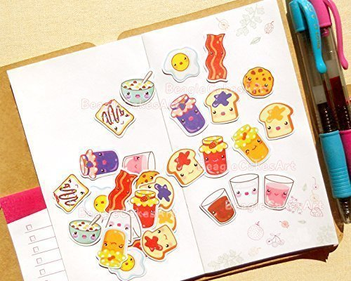 Breakfast Stickers for Planner and Calendars - Kawaii Sticker Flakes Stationery Supplies - For All Types of Planners - Erin Condren Planner Kit - Scrapbook Embellishment and Confetti Party Favors