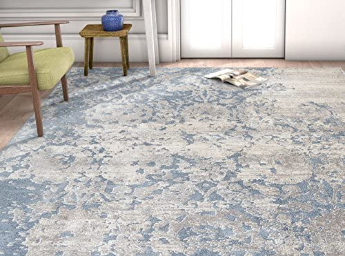Well Woven Pearl Ora Modern Vintage Distressed Blue Soft Area Rug 3'11″ x 5'3″