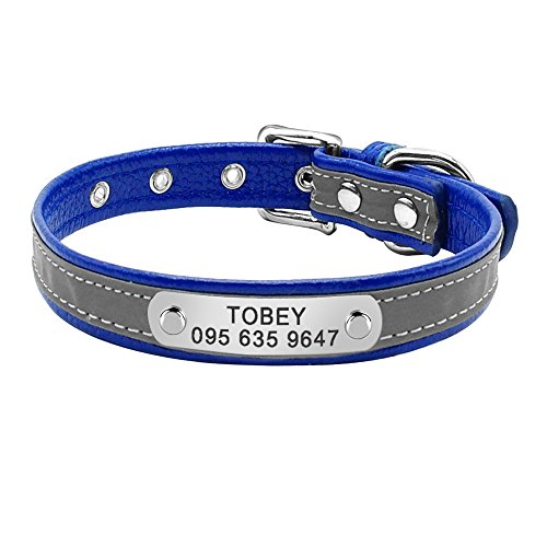 - PEHTEN Leather Cat Collar Personalized Cat Collar for Puppy Small Dogs Pet Kitten Nameplate Collar Free Engraving Adjustable Blue 3 Neck fit 32 to 39 cm