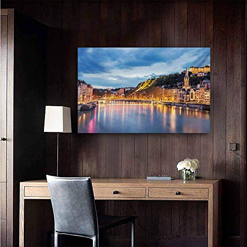 duommhome European Chinese Classical Oil Painting View of Saone River in Lyon City at Evening France Blue Hour Historic Buildings for Living Room Bedroom Hallway Office 35